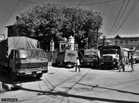 Paramilitary vehicles on standby during shutdown. (Location: Srinagar Downtown)