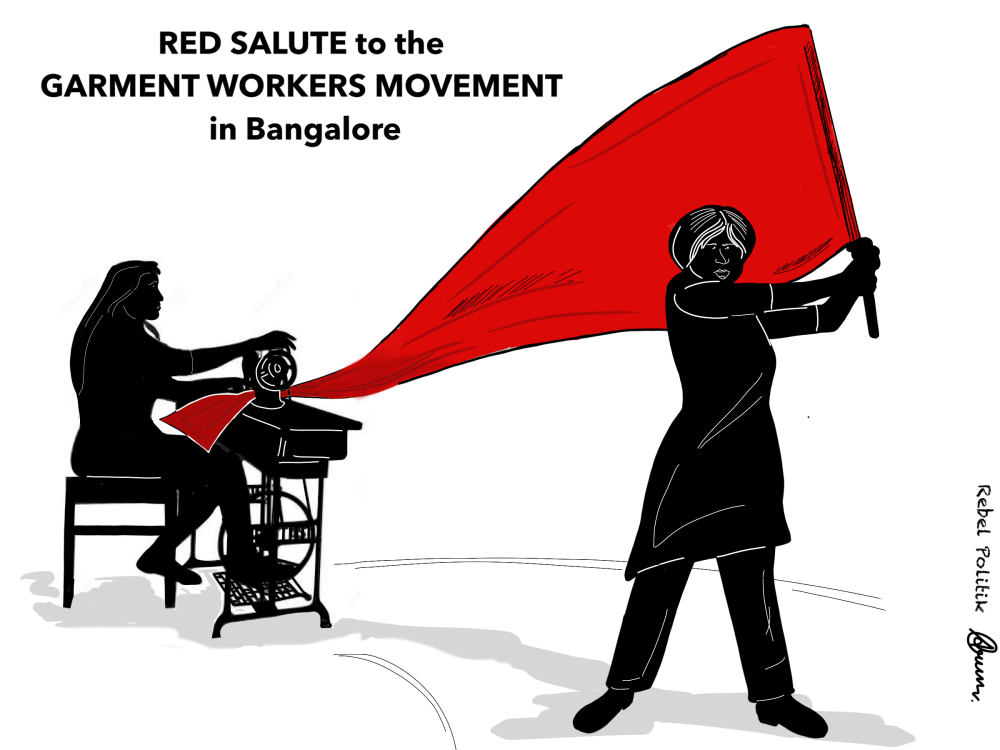 Cartoon Bangalore Garment Workers Movement Rebel